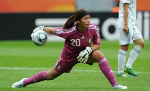Mexico's goalkeeper Cecilia Santiago plays the ball  during the group B match of the FIFA women's football World Cup Japan vs Mexico on July 1, 2011 in Leverkusen, western Germany. Japan won by 4-0.   AFP PHOTO / PATRIK STOLLARZ (Photo credit should read PATRIK STOLLARZ/AFP/Getty Images)