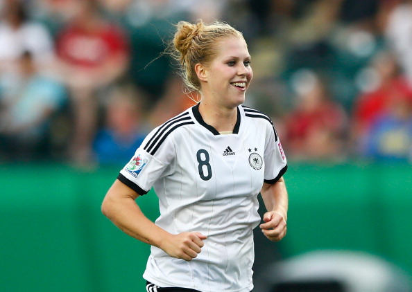 EDMONTON, AB - AUGUST 16:  Rebecca Knaak of Germany reacts after scoring a goal against Canada during the FIFA U-20 Women's World Cup Canada 2014 Quarter Final match between Germany and Canada at Commonwealth Stadium on August 16, 2014 in Edmonton, Canada.  (Photo by Kevin C. Cox - FIFA/FIFA via Getty Images)